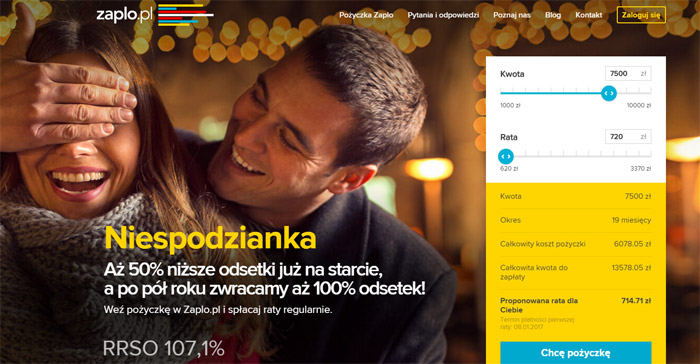 Pożyczka przez internet w Zaplo